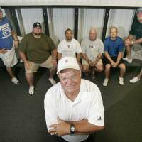 Photo - HIGH SCHOOL FOOTBALL: Dibble coach Charley North poses for a photo with his assistant coaches left to right  J.D. Beck, J.R. Conrad, Jacob Gutierrez, Jim Cochran, Roger Clement and Stephen Alexander in Dibble, Oklahoma August 10, 2009. Photo by Steve Gooch, The Oklahoman ORG XMIT: KOD