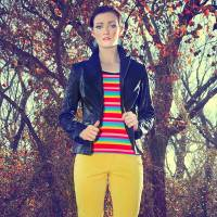 Photo - Use black to ground bright colors. Stripe T-shirt by AZI and Woman cotton coated black jacket with Christopher Blue yellow jeans from Ruth Meyers. Model is Emiliy, makeup by Lilly Stone, Sooo Lilly Cosmetics. Photo by  Chris Landsberger, The Oklahoman.  CHRIS LANDSBERGER
