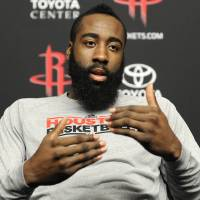 Photo - Houston Rockets' James Harden talks about his favorite Houston restaurants Monday, Feb. 4, 2013, in Houston. The 23-year-old will make his NBA All-Star debut when the game and its weekend of festivities comes to Houston Feb. 15-17. (AP Photo/Pat Sullivan)In this photo taken Monday, Feb. 4, 2013, Houston Rockets basketball player James Harden talks about his favorite Houston restaurants during an interview in Houston. The 23-year-old will make his NBA All-Star debut when the game and its weekend of festivities comes to Houston Feb. 15-17. (AP Photo/Pat Sullivan)