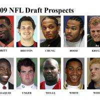 Photo - ** FOR USE AS DESIRED WITH NFL DRAFT STORIES ** FILE - In these university handouts and file photos top college football prospects for the 2009 NFL Draft are shown. They are: Kenny Britt, Eben Britton, Patrick Chung, Ziggy Hood, Paul Kruger, Mohamad Massaquoi, Max Unger, Chris Wells, Patrick White and Eric Wood. (AP Photo) ** MAGS OUT. NO SALES, EDITORIAL USE ONLY ** ORG XMIT: NY159