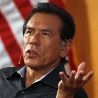 Photo - Actor Wes Studi speaks at the Oklahoma History Center in Oklahoma City, Monday, June 11, 2012. Photo by Nate Billings, The Oklahoman
