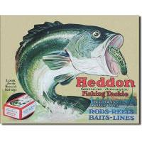 Photo -  A classic poster advertising Heddon fishing lures. Older model lures can be valuable to collectors. Photo provided