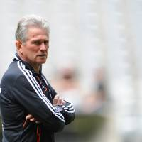 Photo - Munich's head coach Jupp Heynckes watches the Bayern Munich squad at a training session in Munich, Germany, Tuesday May 14, 2013. Bayern Munich will face German club of  Borussia Dortmund in a Champions League final match in London on May 25, 2013. (AP photo/dpa,Andreas Gebert)