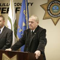 Photo - Bernalillo County Sheriff Dan Houston holds a news conference on the five person homicide on Sunday, Jan. 20, 2013. Authorities said a teenage boy fatally shot two adults and three children at a home near Albuquerque. (AP Photo/Albuquerque Journal, Pat Vasquez-Cunningham)