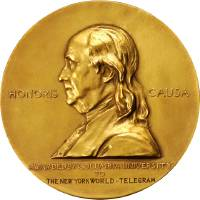 Photo - This undated photo provided by Stack's Bowers Galleries shows a Nobel Peace Prize that was saved from possible destruction for the value of its gold. The 1936 medal is only the second to come to auction and marked the first time an individual from Latin America was recognized by the prestigious award. The 23-carat relic is being sold in Baltimore on March 29, 2014, by the New York-based Stack's Bowers Galleries. (AP PHOTO/Stack's Bowers Galleries)