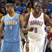 Photo - Nazr Mohammed, right, and the Thunder are preparing to face Denver and Kenyon Martin in the playoffs. Photo by Sarah Phipps, The Oklahoman