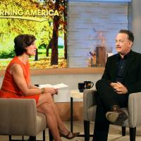 Photo -   This image released by ABC shows actor Tom Hanks during an interview segment with Elizabeth Vargas on