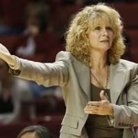 Photo - OU head coach Sherri Coale reacts to a call in the second half during a women's college basketball game between the University of Oklahoma (OU) and Cal State Northridge at the Lloyd Noble Center in Norman, Okla., Saturday, Dec. 29, 2012. OU won, 79-57.  Photo by Nate Billings, The Oklahoman