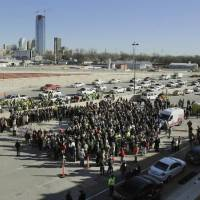 Photo - Hundreds attend the opening ceremony Thursday of a new section of Interstate 40 in Oklahoma City. Photo by Paul Hellstern