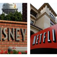 Photo - This combination of AP file photos shows the Walt Disney logo in Burbank, Calif. on June 2, 2006, and Netflix's headquarters in Los Gatos, Calif., on March 20, 2012. Netflix's video subscription service has trumped pay-TV channels and grabbed the rights on Tuesday, Dec. 4, 2012, to show Disney movies shortly after they finish their runs in theaters. (AP Photo/File)