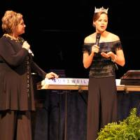 Photo - Sandi Patty, left, listens as Miss America Katie Stam talks about her Christian faith. PHOTO PROVIDED     ORG XMIT: 0910161539146642