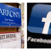 Photo -   This combination of Associated Press file photos, show advertising for the financial magazine Barron's on display in New York on July 23, 2007, and the Facebook logo on an iPad in Philadelphia on May 16, 2012. Facebook Inc.'s stock took a hit Monday, Sept. 24, 2012, after an article in Barron's said it is