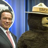 Photo - FILE - This Oct. 30, 2013 file photo shows former California Governor Arnold Schwarzenegger posing with Smokey Bear after the U.S. Forest Service named him their third honorary Forest Ranger for his leadership on climate change during a ceremony at the Department of Agriculture.in Washington. Smokey Bear is turning 70 on Saturday Aug. 9, 2014  _ but don't bring any candles to the party, please. As the friendly, huggable bear with the brimmed hat and shovel enters his golden years, he's burning up Twitter, but his message of fire prevention through personal responsibility hasn't changed _ much. (AP Photo/Cliff Owen, file)