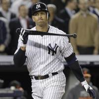 Photo -   New York Yankees' Alex Rodriguez strikes out during the eighth inning of Game 4 of the American League division baseball series against the Baltimore Orioles, Thursday, Oct. 11, 2012, in New York. (AP Photo/Kathy Willens)