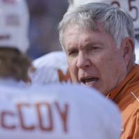 Photo - Texas coach Mack Brown's team could be on upset watch Saturday when Iowa State comes to Austin. AP Phot/Reed Hoffman.  Reed Hoffmann