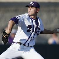 Photo - TCU pitcher Tyler Alexander delivers to Sam Houston State during the first inning of an NCAA college baseball regional tournament game in Fort Worth, Texas, Sunday, June 1, 2014. (AP Photo/Jim Cowsert)