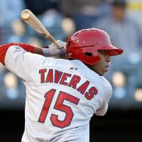 Photo - Oscar Taveras of Memphis during the  Oklahoma City RedHawks home opener against the Memphis Redbirds at Chickasaw Bricktown Ballpark in Oklahoma City, Friday, April 12, 2013. Photo by Bryan Terry, The Oklahoman