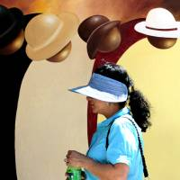Photo - Gina Atkins of Oklahoma City looks at Guilloume's painting called