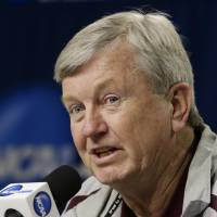 Photo - Texas A&M coach Gary Blair speaks during a news conference ahead of NCAA college basketball practice in Lincoln, Neb., Friday, March 28, 2014. Texas A&M will play DePaul in an NCAA Lincoln Regional women's semifinal basketball game on Saturday. (AP Photo/Nati Harnik)