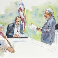 Photo -   In this courtroom sketch, Judge John Cleland, right, listens as Joseph McGettigan III, Pennsylvania senior deputy attorney general, second from right, and Frank Fina, Pennsylvania chief deputy attorney general, third from right, re-create the testimony of Penn State assistant football coach on leave, Mike McQueary, for the jury, seated at left, during the child sexual abuse trial of former Penn State University assistant football coach Jerry Sandusky at the Centre County Courthouse in Bellefonte, Pa., Friday, June 22, 2012. The jury is in its second day of deliberations. (AP Photo/Aggie Kenny)