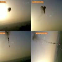 Photo - In this combo made from images from amateur video provided by Al-Jazeera, smoke pours from a hot air balloon over Luxor, Egypt, top left, before bursting, top right, and plummeting about 1,000 feet to earth, bottom left and right, on Tuesday, Feb. 26, 2013. Nineteen people were killed in what appeared to be the deadliest hot air ballooning accident on record. A British tourist and the Egyptian pilot, who was badly burned, were the sole survivors. (AP Photo/Al-Jazeera) MANDATORY CREDIT: AL-JAZEERA