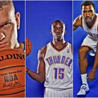 Photo - The Oklahoma City Thunder's Cole Aldrich, Reggie Jackson, and Lazar Hayward.