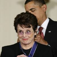 Photo - FILE - In this Aug. 12, 2009 file photo, President Barack Obama presents the 2009 Presidential Medal of Freedom to Billie Jean King, known for winning the famous