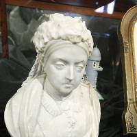 Photo - An 1887 commemorative bust of Queen Victoria that was used for her golden jubilee is on display.