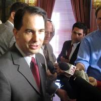 Photo - Gov. Scott Walker says the IRS's targeting of conservative groups for extra scrutiny is a real threat to our freedoms, on Tuesday, May 14, 2013, in Madison, Wis. (AP Photo/Scott Bauer)