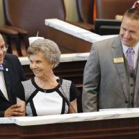 Photo -  Frances Percival is honored on the floor of the House of Representatives for her service to Millwood School District. Looking on are State Rep. Mike Shelton, D-Oklahoma City, and Shawn Hime, Oklahoma State School Board of Education Association executive director. Photo by Paul B. Southerland, The Oklahoman   PAUL B. SOUTHERLAND -  PAUL B. SOUTHERLAND