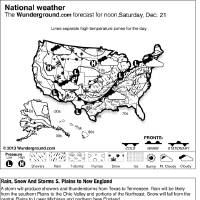 Photo - This is a Weather Underground forecast for Saturday, Dec. 21, 2013, for the U.S. A storm will produce showers and thunderstorms from Texas to Tennessee. Rain will be likely from the southern Plains to the Ohio Valley and portions of the Northeast. Snow will fall from the central Plains to Lower Michigan and northern New England. (AP Photo/Weather Underground)