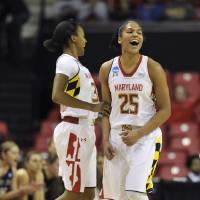 Photo - Maryland's Alyssa Thomas, right, and Shatori Walker-Kimbrough celebrate after scoring against Army during the first half of the first round of the NCAA women's college basketball tournament on Sunday, March 23, 2014, in College Park, Md.(AP Photo/Gail Burton)