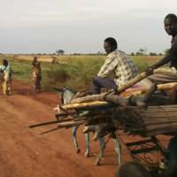 Photo - In this image taken from video people travel on the road near Bentiu South Sudan on Sunday April 20, 2014. U.N.'s top humanitarian official in south Sudan Toby Lanzer  told The Associated Press in a phone interview Tuesday April 23, 2014, that the ethnically targeted killings are