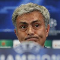 Photo - Chelsea's coach Jose Mourinho from Portugal gestures during a press conference ahead of Tuesday's Champions League, semifinal, first leg, soccer match against Atletico Madrid, at the Vicente Calderon stadium, in Madrid, Spain, Monday, April 21, 2014. (AP Photo/Andres Kudacki)
