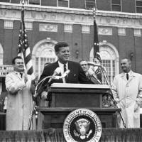 Photo -   In this Nov. 22, 1963 photo provided by the The Sixth Floor Museum at Dealey Plaza, John F. Kennedy speaks outside the Hotel Texas in Fort Worth, Texas. An exhibit opening next year at the Dallas Museum of Art will feature almost all of the works of art gathered from museums and prominent Fort Worth citizens for the hotel suite Kennedy and first lady Jacqueline Kennedy stayed in the night before he was assassinated. (AP Photo/The Sixth Floor Museum at Dealey Plaza)