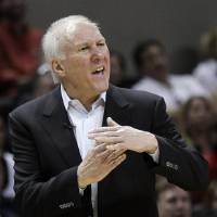 Photo -   San Antonio Spurs head coach Gregg Popovich argues after he was charged with a technical foul during the fourth quarter of Game 1 of a first-round NBA basketball playoff series against the Utah Jazz, Sunday, April 29, 2012, in San Antonio. San Antonio won 106-91.(AP Photo/Eric Gay)