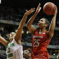 Photo - Maryland forward Alyssa Thomas (25) shoots against Notre Dame forward Taya Reimer (12) during the second half of the championship game in the Final Four of the NCAA women's college basketball tournament, Sunday, April 6, 2014, in Nashville, Tenn. (AP Photo/John Bazemore)