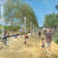 Photo - A prominade proposed as part of Core to Shore park south of downtown is shown in this rendering.  Hargreaves Associates