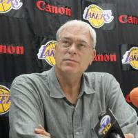 Photo - Los Angeles Lakers head basketball coach Phil Jackson speaks to media at a news conference in El Segundo, Calif., Friday, Sept. 25, 2009. (AP Photo/Nick Ut) ORG XMIT: LA109