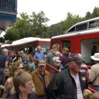 Photo - ** ADVANCE FOR WEEKEND EDITIONS APRIL 25-26 ** *In this file photograph taken on Tuesday, July 10, 2007, passengers board the Pikes Peak Cog Railway in Manitou Springs, Colo. (AP Photo/The Gazette, Carol Lawrence, file) ORG XMIT: COCOL701