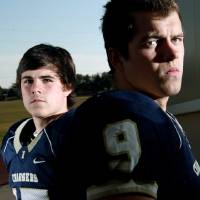 Photo - HIGH SCHOOL FOOTBALL: Heritage Hall High School students Logan McGrath (right) and Travis Harrison (left) pose outside the school in Oklahoma City on Monday, Nov. 23, 2009. By John Clanton, The Oklahoman ORG XMIT: KOD