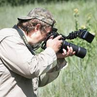 Photo - Bryan Reynolds photographs butterflies at the Lexington Wildlife Management Area, Friday July 19, 2013. Photo By Steve Gooch, The Oklahoman