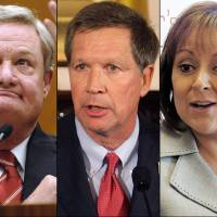 Photo - FILE - This combination of undated file photos shows Republican Governors, from left: Jan Brewer, Ariz.; Jack Dalrymple, N.D.; John Kasich, Ohio; Susana Martinez, N.M., and Brian Sandoval, Nev. While far from voicing a consensus opinion in their party, the governors, along with Michigan Gov. Rick Snyder, are six GOP governors who in the past two months who have joined a growing number of Republican governors now buying into parts of the system as the financial realities of their states' medical costs begin to counterbalance the fierce election politics of the issue. (AP Photo/File)
