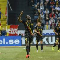 Photo - Belgium's Romelu Lukaku reacts after scoring the first goal of the game during the friendly soccer match between Sweden and Belgium at Friends Arena in Solna, Sweden, Sunday June 1, 2014. (AP photo / TT News Agency / Janerik Henriksson)  SWEDEN OUT