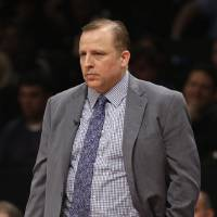Photo - Chicago Bulls head coach Tom Thibodeau watches during the second quarter of Game 1 against the Brooklyn Nets in the first round of the NBA basketball playoffs at the Barclays Center Saturday, April 20, 2013 in New York.  (AP Photo/Seth Wenig