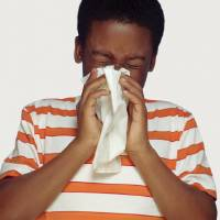 Photo - Covering the mouth and nose with a tissue when coughing or sneezing can lessen the spread of flu.  Tom Le Goff
