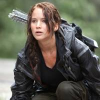 Photo -   In this image provided by Lionsgate, Jennifer Lawrence portrays Katniss Everdeen in a scene from