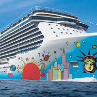 Photo - This undated artist's rendering provided by Norwegian Cruise Line shows the exterior of the Norwegian Breakaway. The ship's hull features the unmistakable pop art of Peter Max, with Lady Liberty's face and a city skyline anchoring the brightly colored design. The ship will carry 4,028 guests and will be the largest ever to homeport year-round in New York City, beginning in May. It's considered one of the hottest new cruise ships coming out this year.  (AP Photos/Norwegian Cruise Line)