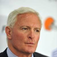 Photo - File- This May 29, 2013, file photo shows Cleveland Browns owner Jimmy Haslam during a news conference in Cleveland. Authorities say the truck-stop company owned by Jimmy Haslam and Tennessee Gov. Bill Haslam has agreed to pay $92 million in fines for cheating customers out of promised rebates and discounts. The agreement was signed by attorneys for the nation's largest diesel retailer Friday. The agreement does not protect any individual at Pilot from prosecution and requires the company to cooperate with an ongoing investigation of current and former employees. Haslam has said he was unaware of the scheme. Tenn. Gov. Bill Haslam is not involved in Pilot's day-to-day operations. (AP Photo/David Richard, File)