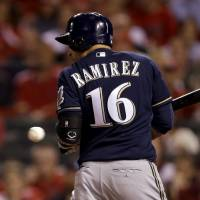 Photo - Milwaukee Brewers' Aramis Ramirez is hit by a pitch with the bases loaded during the seventh inning of a baseball game against the St. Louis Cardinals Monday, April 28, 2014, in St. Louis. (AP Photo/Jeff Roberson)